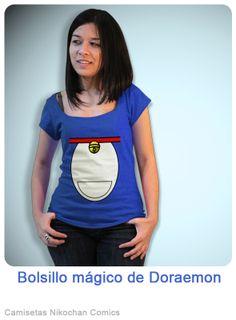 Diseño Doraemon, bolsillo mágico. #camisetas_geek #camisetas_divertidas #camisetas_friki #doraemon