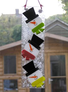 3 cheerful snowmen to hang in your window at Christmas from First Glass Creations