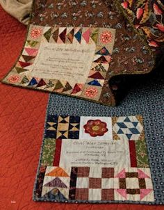 Creative quilt labels incorporating block designs from your quilt top! From a quilt book The pinner edited. She is a quilt book editor.