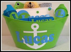 Personalized Baby Boy Nautical Anchor Gift Basket for by SoPrep, $45.00