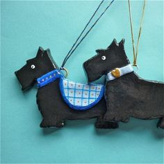 Salt dough scotties ornaments