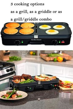 Hamilton Beach Electric Indoor Grill + Griddle, Reversible Nonstick Plates, 2 Cooking Zones with Adjustable Temperature Black Indoor Grill, Hamilton Beach, Specialty Appliances, Griddles, Small Kitchen Appliances, Griddle Pan, Grease, Grilling, Oven