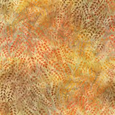 fabric - Tiny Orange Leaf Batik by Robert Kaufman Fabrics Small orange, brown and tan leaves tossed on an autumnal colored batik background. Part of the Artisan Batik group by robert Kaufman. AMD-9479-191 autumn
