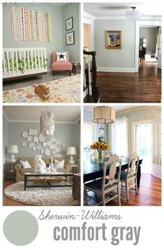 "Sherwin Williams ""comfort gray"" is the perfect green-based gray paint color. It looks really great with all tones of wood and white decor! Click through to see more beautiful examples + 2016's best neutral paint colors! by cynthia"
