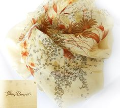 Vintage Jim Renoir Tan/Beige, Brown Floral Scarf, Fashion Accessory Made In Italy by PegsVintageJewellery on Etsy