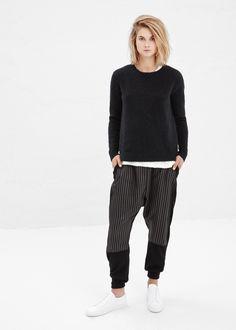 Totokaelo - Y's by Yohji Yamamoto Black Stripe Knit Pant