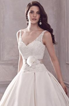 V-Neck Princess/Ball Gown Wedding Dress  with Dropped Waist in Silk Dupioni. Bridal Gown Style Number:32815417