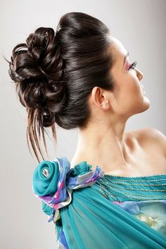 Casual updo hairstyles with bun for black long hair #prom