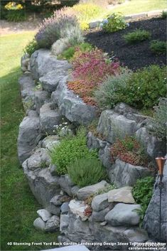 38 Amazingly Green Front-yard & Backyard Landscaping Ideas Get Basic Engineering, Home Design & Home Decor. Amazingly Green Front-yard & Backyard Landscaping Ideasf you're anything like us, y Landscaping Retaining Walls, Landscaping With Rocks, Front Yard Landscaping, Backyard Landscaping, Landscaping Ideas, Backyard Ideas, Rock Retaining Wall, Inexpensive Landscaping, Country Landscaping
