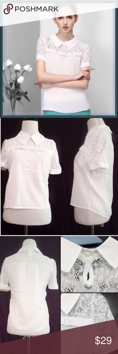 "NWT Collared Chiffon Lace Top ➖SIZE: Small  (see measurements)  ➖STYLE: A white dainty and delicate looking collared chiffon blouse with lace inserts  ➖MEASUREMENTS    ➖BUST: 17""    ➖SHOULDER : 17.75""    ➖WAIST: 16.5""    ➖LENGTH: 23.5"".                                                      ❌NO TRADE Tops Tees - Short Sleeve"