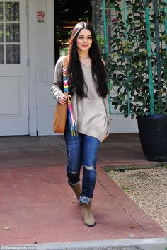 Beauty: Vanessa Hudgens showed off her bohemian sartorial style as she stepped out in Los Angeles on Tuesday