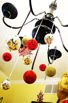 Brassy Apple: Christmas Ball Ornament Chandelier tutorial - for a seamless look!