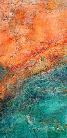 Drifting Across the Ocean, Textured Industrial Artwork in Orange and Teal / Sea Blue Industrial Artwork, Color Stories, Mixed Media Canvas, Turquoise, Colour Schemes, Medium Art, Color Inspiration, Abstract Art, Decoration