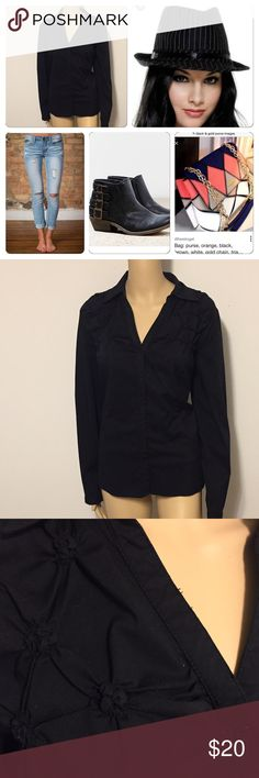 "Great knotted yoke black top (see 3rd pic) Black top with front knotted yoke, armpit to armpit is 23"", length is 25"" Worthington Tops Button Down Shirts"