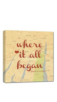 'Where it all began' - a sweet keepsake reminder of where your love story started!  Canvas Wall Art