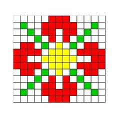 Free cross stitch pattern - Easy flower for cross stitch Easy Cross Stitch Patterns, Simple Cross Stitch, Beaded Cross Stitch, Bead Loom Patterns, Cross Stitch Flowers, Cross Stitch Designs, Cross Stitch Embroidery, Easy Patterns, Graph Paper Art