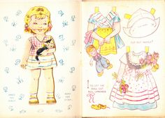Little wooden shoes doll and clothes English paper doll book, Sandles 1950s