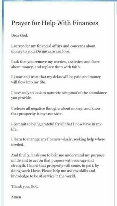 Prayer for Help with Finances