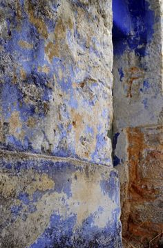 Lulaki - weathered denim blue color on the walls.  Lovely