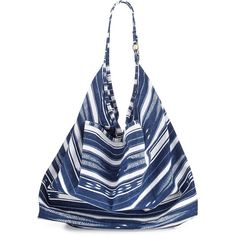 La Blanca Striped Canvas Beach Tote Bag (257.770 COP) ❤ liked on Polyvore featuring bags, handbags, tote bags, blue, striped beach tote, canvas beach tote bags, handbags totes, blue tote bag and white canvas tote bags