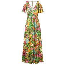 Vestido longo tropical black Farm - verde