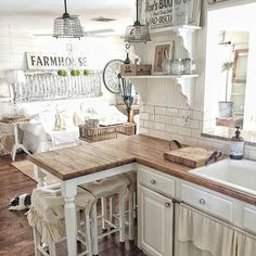 chic kitchen Decor Steals is a daily deal home decor store featuring CRAZY deals on Vintage decor, Rustic decor, Farmhouse Decor, Industrial Decor and Shabby Chic decor! Grab your morning coffee everyday at EST & come Join us! Shabby Chic Farmhouse, Farmhouse Kitchen Decor, Shabby Chic Homes, Shabby Chic Decor, Country Kitchen, New Kitchen, Rustic Decor, Farmhouse Style, Kitchen Ideas