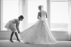 gorgeous bride and maid of honor shot // The Not Wedding : Cape Cod