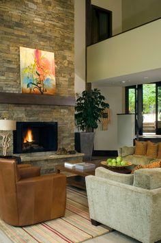Stack-stone fireplace