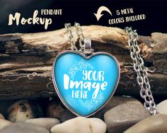 Rustic Heart Pendant Mockup Template with by styledproductmockups