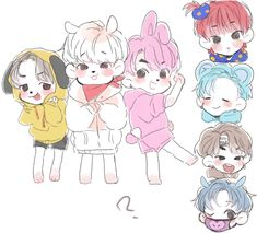 Bts Drawings, Cartoon Drawings, Bts Maknae Line, Cartoon Fan, Kawaii, Army Love, Bts Chibi, Bts Fans, Kpop Fanart