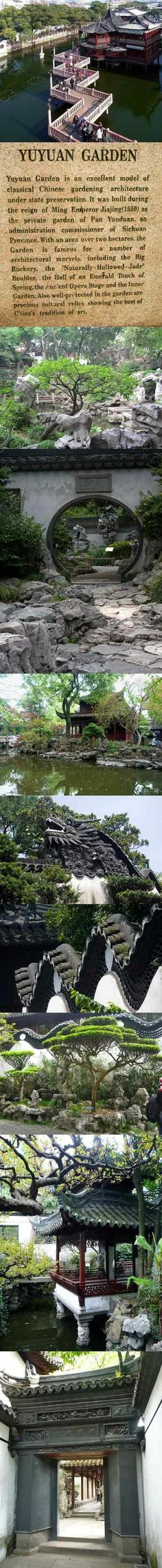 Yuyuan Garden is a famous classical garden located in Shanghai. It was finished in 1577 by a government officer of the Ming Dynasty (1368-1644) named Pan Yunduan. Yu in Chinese means pleasing and satisfying, and this garden was specially built for Pan's parents as a place for them to enjoy a tranquil and happy time in their old age.