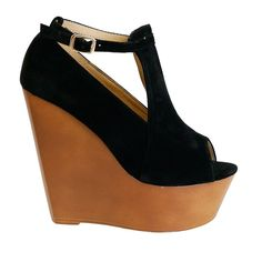 Anabelle Black Open Toe Ankle Strap High Wedge