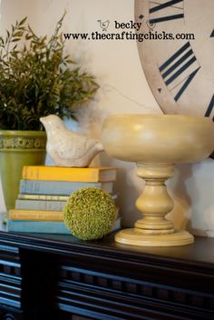 Yellow Pedestal bowl made from wood cable sticks and wood bowls.  Instructions...