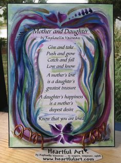 MOTHER DAUGHTER POEM 5x7 Quotation Words Family by Heartfulart, $8.00