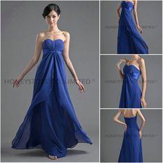 Sweetheart Chiffon Floor Length Blue Bridesmaid