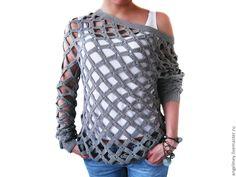 DIY Crochet Diamond Open Weave Net Sweater Free Pattern and Video tutorial #crafts, #fashion, #sweater, #pattern