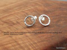 Plain Beaten circle, 925 sterling silver stud earrings - pair or single by DawnGillDesigns on Etsy Pearl Studs, Sterling Silver Earrings Studs, Silver Rings, Stud Earrings, Bespoke Jewellery, Gemstone Beads, Engagement Rings, Gemstones, Etsy