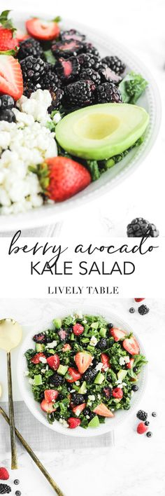 Bursting with tons of berries and creamy avocado, this fresh Berry Avocado Kale Salad makes a delicious and healthy summer side dish! (#glutenfree, #nutfree, #vegetarian) #kalesalad #berries #avocado #mothersday #sidedish #healthy