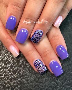 Purple nails Square nails Glitter nails Opal nails