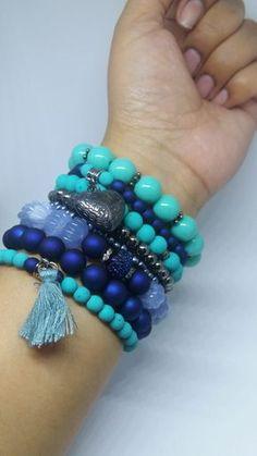 Mix Pulseiras Elegance Cor Azul Klein e Turquesa