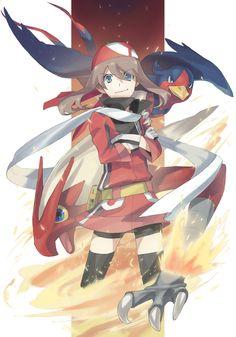 Tags: Fanart, Pokémon, Nintendo, Haruka (Pokémon), Blaziken, Swellow, GAME FREAK, Nishihara Isao