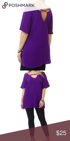 Purple Criss-cross blouse Beautiful Royal Purple Criss-Cross blouse is 100% polyester this is a beautiful color don't pass this one up ladies get ready for spring make an offer or bundle two and save 20% Tops