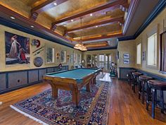 Billiards Room - Pool Table - Country French Chateau, Artwork -  Port Royal - 1950 Galleon Dr, Naples, FL 34102