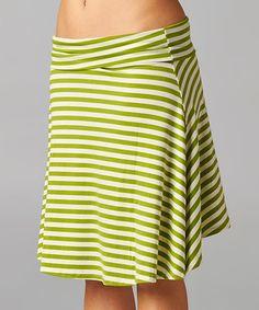 Green Stripe A-Line Skirt by Breakfast in Bed #zulily #zulilyfinds