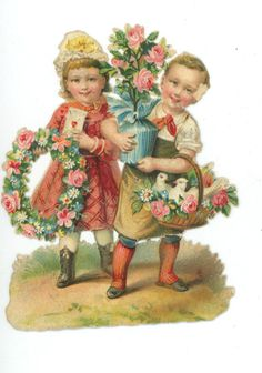 Vintage Embossed Victorian Lithograph Die Cut Children Boy Girl Doves Flowers