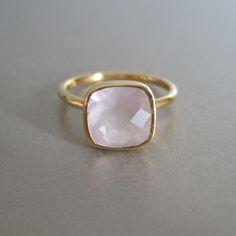 Rose Quartz Square Gold Ring