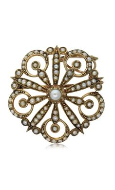 Vintage 9ct yellow gold seed pearl floral brooch