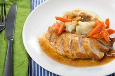Seared Chicken & Mashed Potatoes  with Maple-Glazed Carrots & Pan Sauce. Visit https://www.blueapron.com/ to receive the ingredients.