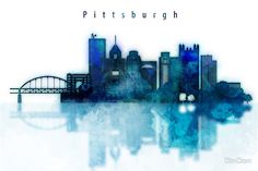 Watercolor cityscape of Pittsburgh city, Skyline in blue
