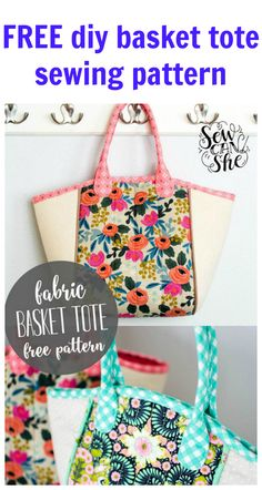 FREE DIY basket tote sewing pattern. A beginner pattern for a very popular tote bag.